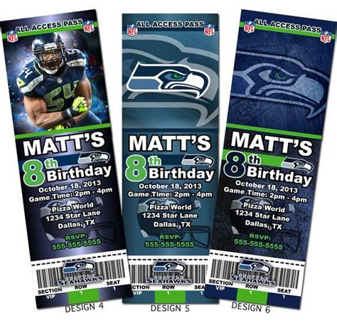 seattle seahawks nfl custom party ticket invitations