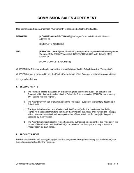 commission sales agreement form templates resume