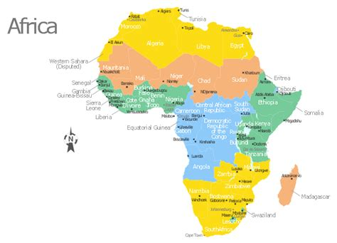 africa map  countries main cities  capitals