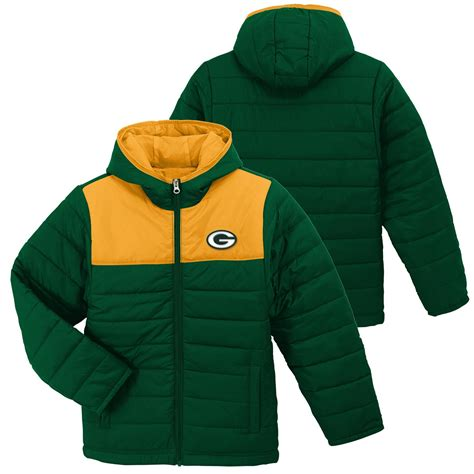 nfl boys quilted jacket green bay packers