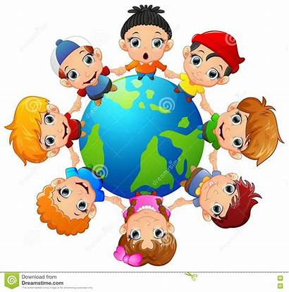Holding Children Around Hand Multicultural Earth Illustration