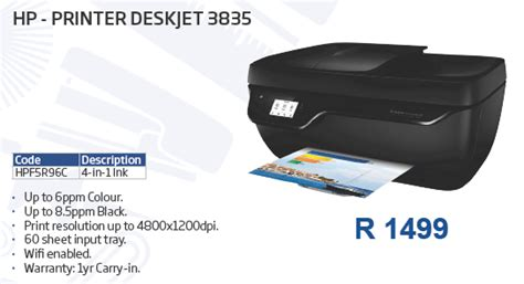 The hp deskjet ink advantage 3835 printer design supports different paper sizes including a4, b5, a6, and these are achieved with its wireless service as well. HP - PRINTER DESKJET 3835 - Stationery - Office Furniture - Ink - Printing - IT