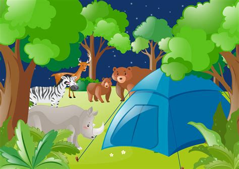 Scene With Tent And Wild Animals In Forest Download Free