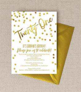 Gold Calligraphy & Confetti 21st Birthday Party Invitation ...