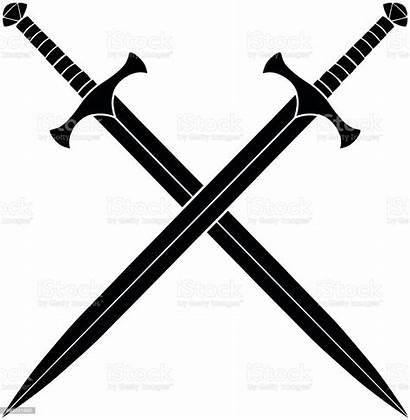 Swords Crossed Silhouette Vector Illustration Sword Crossing
