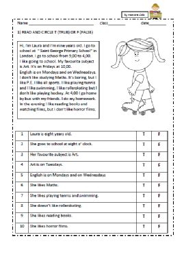 comprensione testo classe terza elementare reading