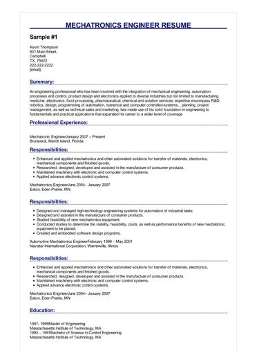 R D Resume Template by Mechatronics Engineer Resume Great Sle Resume