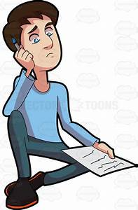 A Man Thinking Of What To Write Cartoon Clipart - Vector Toons