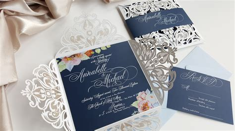 Elegant Wedding Invitation Floral Wedding Invites Navy