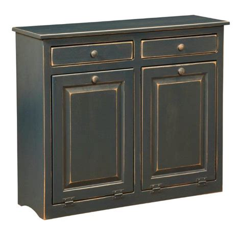 double trash recycling bin cabinet wood amish large pine double trash bin