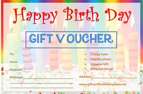 birthday gift certificate templates printable gift