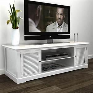 Meuble Tv Banc : acheter meuble tv blanc en bois pas cher ~ Teatrodelosmanantiales.com Idées de Décoration