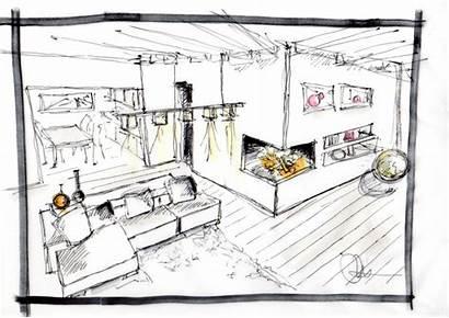 Interni Studio Interior Schizzo Casa Arredamento Architetto