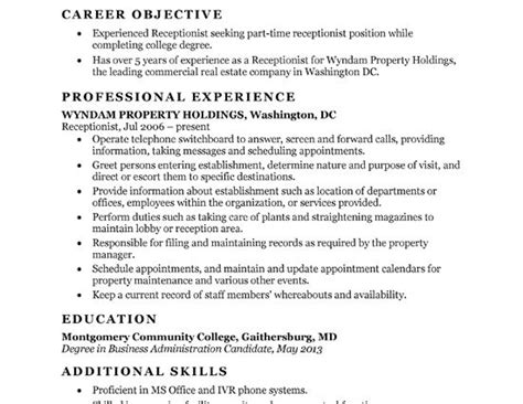 objective lines on resumes exles objective line for receptionist resume career objective