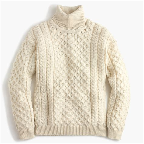sweaters for aran crafts wool cable turtleneck sweater j crew