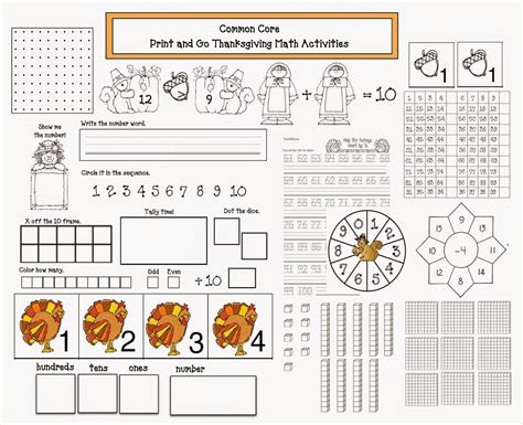common core thanksgiving math packet classroom freebies