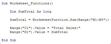 Excel Vba Programming  The Inbuilt Worksheetfunction
