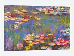 water lilies 1916 canvas wall art by claude monet icanvas With what kind of paint to use on kitchen cabinets for floral framed wall art