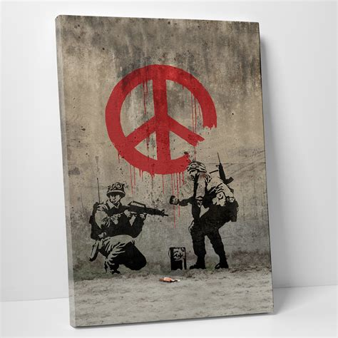banksy for sale canada peace 16 quot w x 20 quot h x 0 75 quot d banksy touch of modern