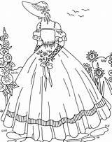 Embroidery Cqmagonline Lady Ladies Crinoline Coloring Patterns Crazy Patrones Barbie Bordado Articles Quilting Coloriage Broderie Transfers Ru Enfant Ručni Prace sketch template