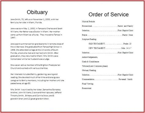 funeral program template word  template