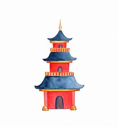 Pagoda Chinese Taoist Temple Illustration Buddhist Illustrations