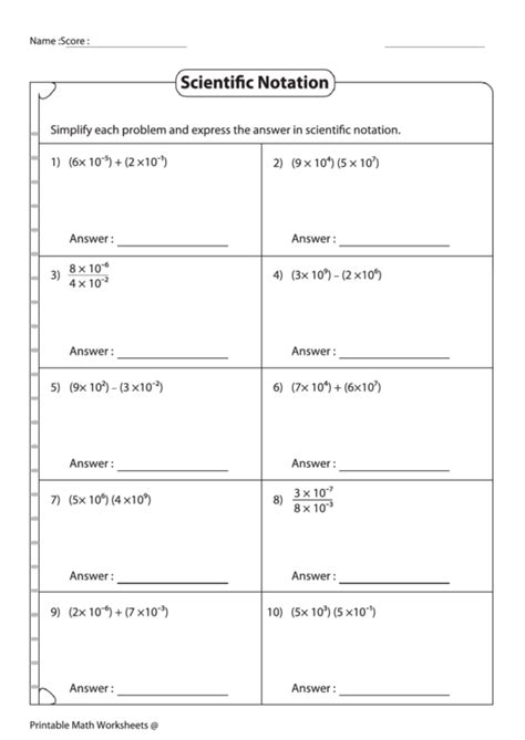 simplifying expressions in scientific notation worksheet