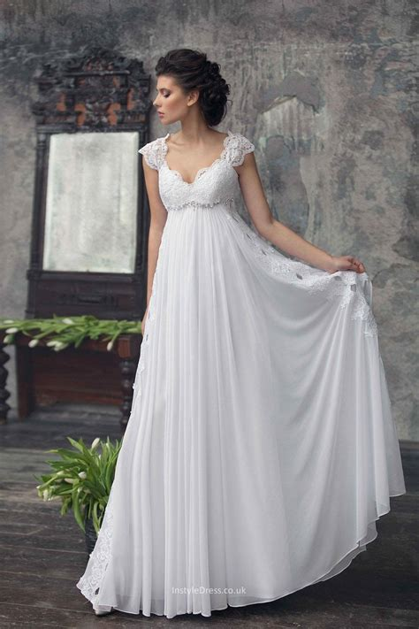 empire wedding dresses a line cap sleeves empire waist lace chiffon 3901