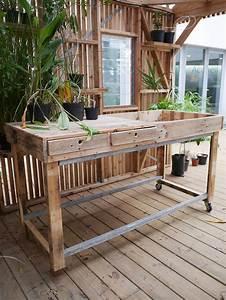 Table Haute Avec Rangement : table haute en bois de palette avec bac de rempotage et tiroirs de rangement ateliers les ~ Teatrodelosmanantiales.com Idées de Décoration