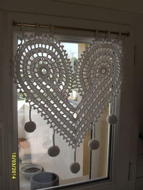 d馮lacer en cuisine rideau en forme de coeur au crochet fait inspiration crochet et ganchillo