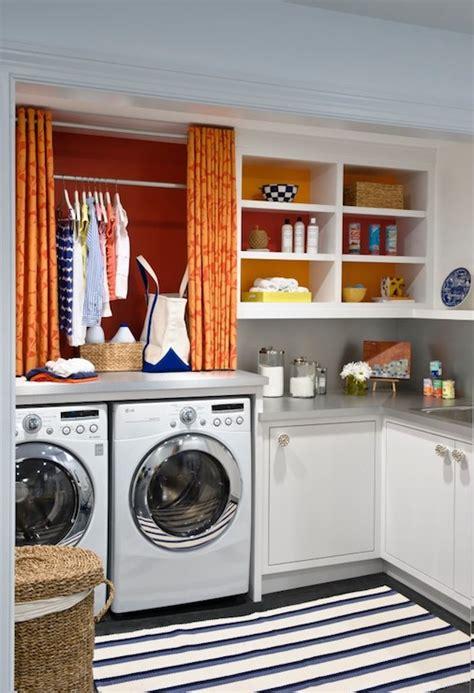 Orange Curtains  Contemporary  Laundry Room Benjamin