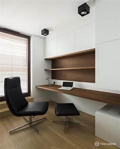 Mały gabinet z nowoczesną zabudową - Architektura, wnętrza