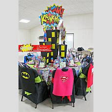 Super Hero Themed Table Decorations For A Chamber Banquet  Super Heroes  Pinterest Super