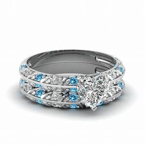 Pave knife edge heart diamond wedding ring set with blue for Blue topaz wedding ring sets