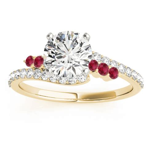 ruby 8 45ct ruby bypass engagement ring 18k yellow gold 0