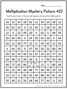 penguin multiplication mystery picture winter math