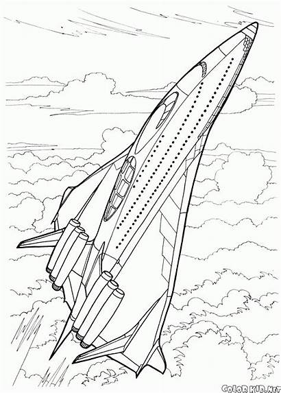 Coloring Future Futuristic Space Ship Aircraft Pages