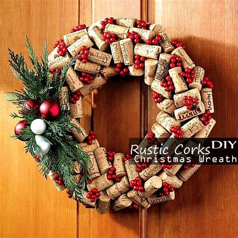 rustic cork christmas wreath easy cool homemade diy