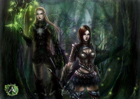 Elves Men Warrior Two Fantasy Girl Elf Forest Magic