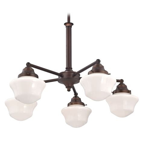 schoolhouse pendant light schoolhouse chandelier with five lights in bronze finish