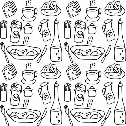 Doodles Pages Coloring Dining Illustration Objects Template