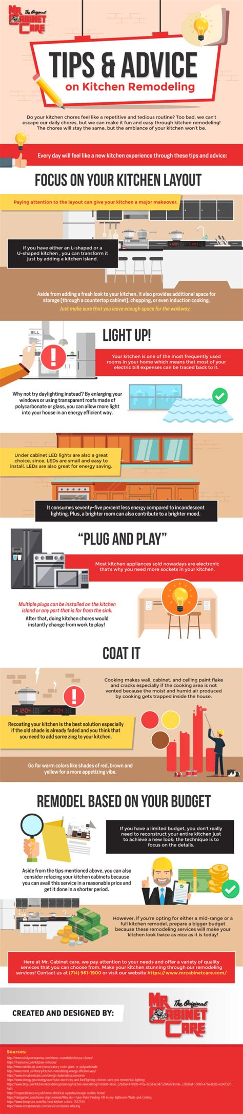 tips  advice  kitchen remodeling infographic