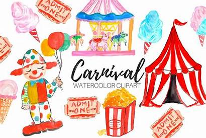 Carnival Circus Clipart Watercolor Thehungryjpeg Graphics Writelovely
