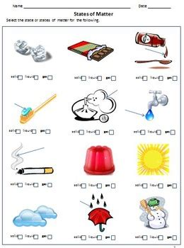 solid liquid  gas  states  matter worksheets