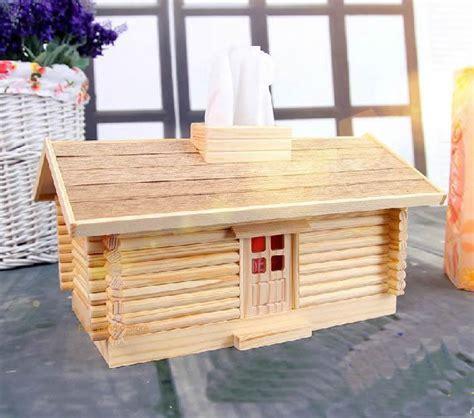 DIY Assembled wood tissue box Creative log cabin tissue