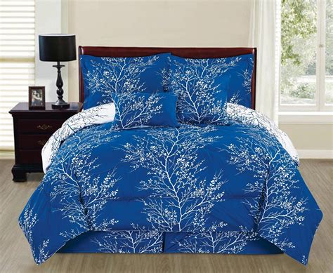 Royal Blue White Comforter Set 6 Piece King Size