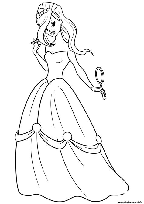 beautiful princess  mirror   hand coloring pages printable