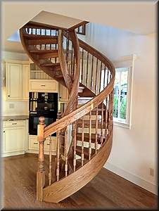 Building, Wooden, Spiral, Staircase, Ideas, Red, Oak, Wooden, Spiral, Staircase