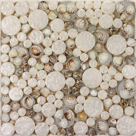 white mosaic tile resin glass conch tile backsplash penny round designs bathroom tiles for wall