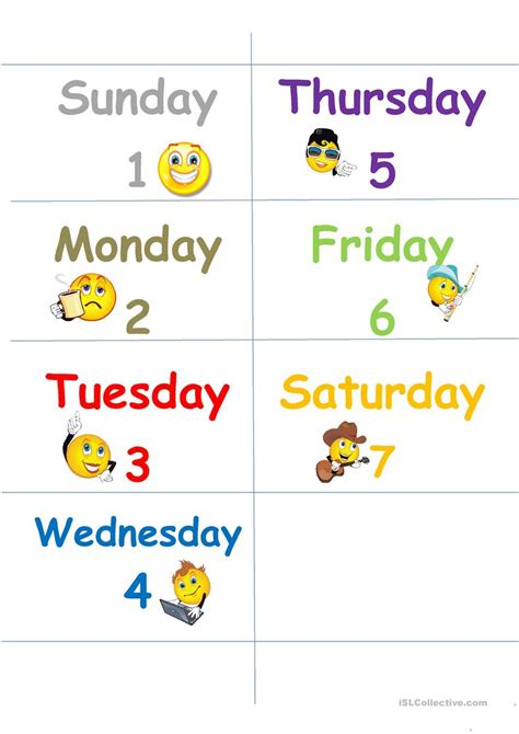 days   week flash cards worksheet  esl